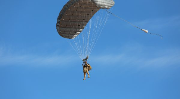 Hi-5 Army Military Ram Air Parachute Personnel product system for military special forces jumpers with glide modulation. Carries 485 lbs. Max deployment altitude 25,000 feet