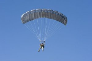 Airborne Systems - Intruder RA-1 Army Ram Air Parachute system for military special forces and beginner jumpers. Carries 450 lbs. Max deployment altitude 25,000 ft. Jumper open canopy, blue sky.