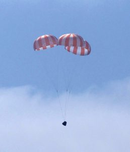 Airborne Systems. Boeing capsule drop test blue sky. Space recovery parachutes systems. Flotation devices and landing systems. Capsule, booster, and payload recovery systems for spacecraft equipment.