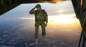 U.S. Soldier assigned to 1st Battalion, 10th Special Forces Group (Airborne) salutes his fellow Soldiers while jumping out of a C-130 Hercules aircraft over a drop zone in Germany, Feb. 24, 2015. Airborne Systems. The World Leader in Military Parachute Manufacturing & Training. Oxygen and navigation systems for parachutes. Air and space deceleration systems.