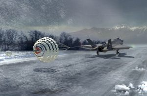 Airborne Systems Aircraft landing deceleration systems. Design and manufacture of military-grade parachutes. Entry, Descent & Landing System (EDLS) for aircraft. Illustration - Airplane landing in snowstorm near mountains dragging parachutes.