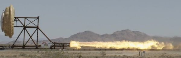 Airborne Systems test run with firey engine, HIAD, mountains. Hypersonic Inflatable Aerodynamic Decelerators (HIAD) inflatable heat shield for re-entry of spacecraft into Earth and Mars. Inflatable space parachutes. Design, development, and manufacture of inflatable parachute systems for aerospace structures used by the military and NASA.