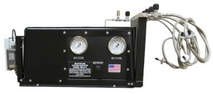 SOLR™ Military OxygenBooster Pump. SOLR™ military oxygen booster pump systems for army jumpers. Fills army missions oxygen systems to pressures up to 4,500 psi.Black box with outlet and inlet pressure guages and inlet shut off valve and connector cables.
