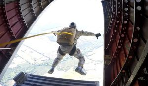 U.S. Soldier jumping out of aircraft. Airborne Systems. The World Leader in Military Parachute Manufacturing & Training. Oxygen and navigation systems for parachutes.