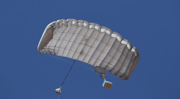 Airborne Systems Canopy with payload. FC Mini Army cargo delivery parachute system. JPADS / GPADS: Guided Precision Aerial Delivery System. Carries 200-500 lbs. Max deployment altitude 24,500 ft